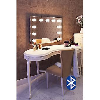 Diamond X Wallmount Hollywood Makeup Audio Mirror with LED k95LEDaud