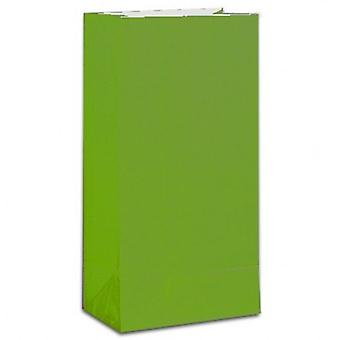 Paper Party bags - Lime Green - pack of 12
