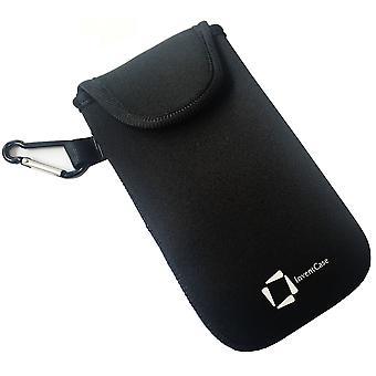 ベルクロの閉鎖とブラックベリー Q10 - 黒のアルミ製カラビナと InventCase ネオプレン耐衝撃保護ポーチ ケース カバー バッグ