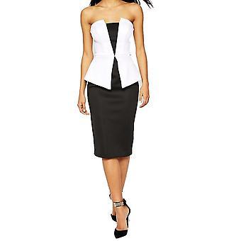 Ex ASOS Women's Premium Mono Peplum Evening Party Midi Dress UK 10