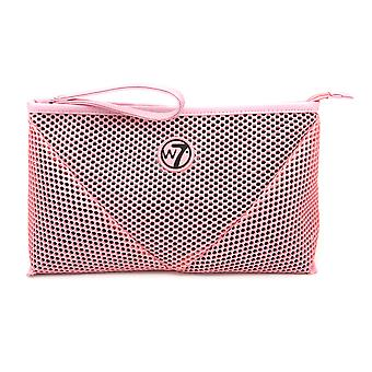 W7 Pink Mesh Large Cosmetic Toiletry Make Up Bag