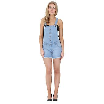 Light Wash Denim Button Front Dungaree Shorts Ladies Denim Bib Overall Shortalls