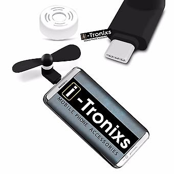 i-Tronixs Huawei P10 Plus - Type C Connector Mobile Cell Phone Portable Pocket Size Fan - Black