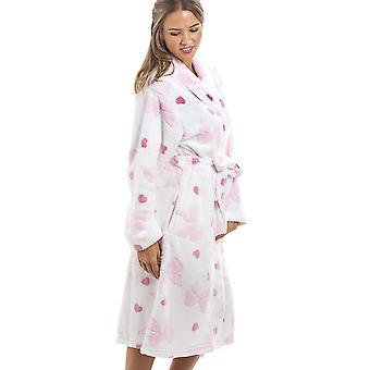 Camille White Supersoft Fleece rosa Herz und Bogen drucken Bademantel