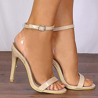 Shoe Closet Nude Stilettos - Ladies ED73 Nude Patent Barely There Stilettos Peep Toes Strappy Sandals High Heels