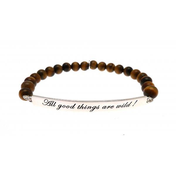 W.A.T 925 Sterling Silver 'All Good Things Are Wild' Tigers Eye Quote Bracelet