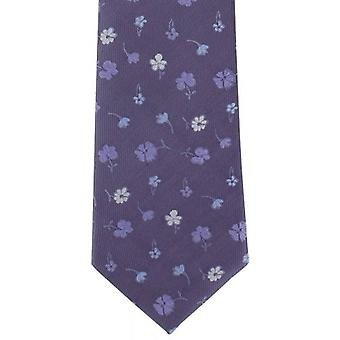 Michelsons of London Simple Flower Silk Tie - Purple