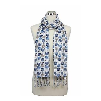 Peony Scarf - Tulip - Cream with Blue