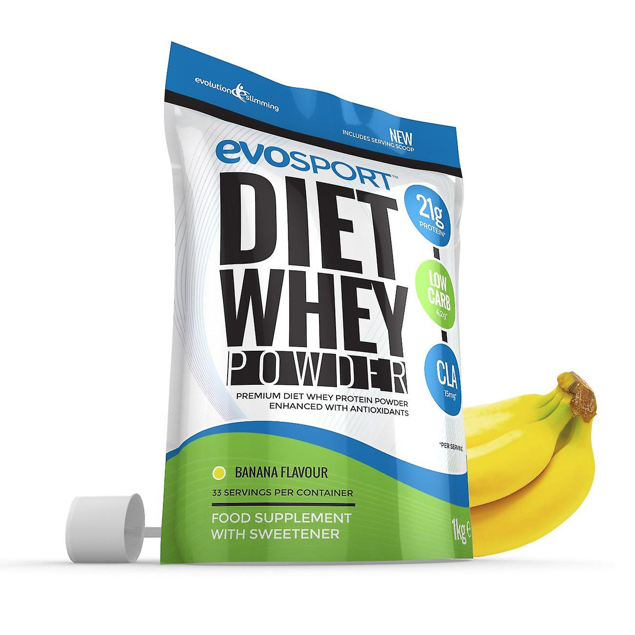 EvoSport Diet Whey Protein with CLA, Acai Berry and Green Tea 1kg - Banana - Diet Whey Protein - Evolution Slimming