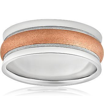 8mm Wide Mens Two Tone 14k White & Rose Gold Brushed Wedding Ring