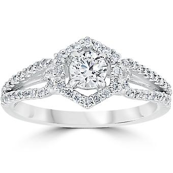 5/8CT Diamond Vintage Halo Engagement Ring 14K White Gold