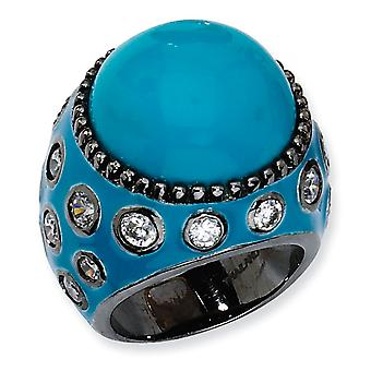 Black-plated Sterling Silver Enameled Simulated Turquoise and Cubic Zirconia Ring - Ring Size: 6 to 8