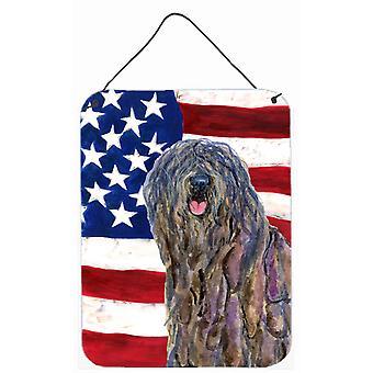USA American Flag with Bergamasco Sheepdog Wall or Door Hanging Prints