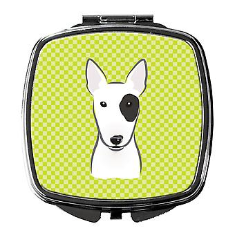 Checkerboard Lime Green Bull Terrier Compact Mirror