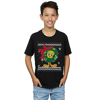 Looney Tunes Boys Tweety Pie Christmas Fair Isle T-Shirt