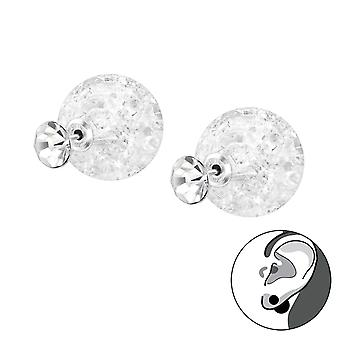 Round - 925 Sterling Silver Ear Jackets & Double Earrings - W33404x