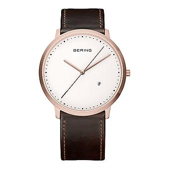 Bering mens watch wristwatch slim classic - 11139-564 leather
