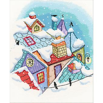 Winter On The Roof Counted Cross Stitch Kit-10.75