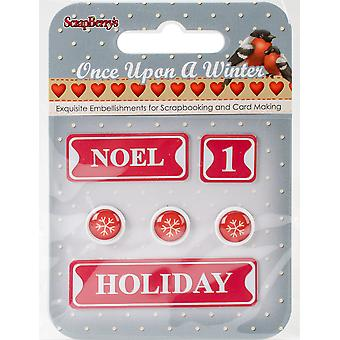 ScrapBerry's Once Upon A Winter Metal Words & Icons-#4: Noel, 1, Holiday & Snowflakes 340991