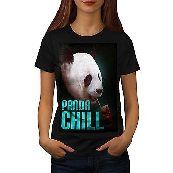 Panda Chill Cute Women BlackT-shirt   Wellcoda