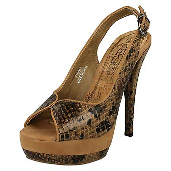 Ladies Spot On Snake Print Slingback Heels