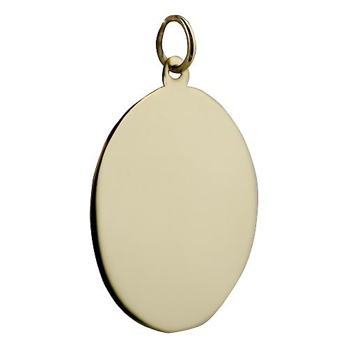 18ct Gold 26x21mm platte ovale Disc