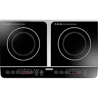 Twin induction hob with pot size recognition, 2 separate temperature knobs, Timer fuction Un