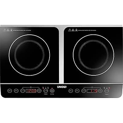 Unold Doppel Elegance 58175 Twin induction hob with pot size recognition, 2 separate temperature knobs, Timer fuction