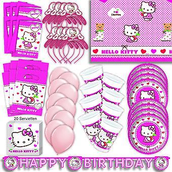 Hello Kitty party set XL 74-teilig for 6 guests Kittyparty birthday decoration party package