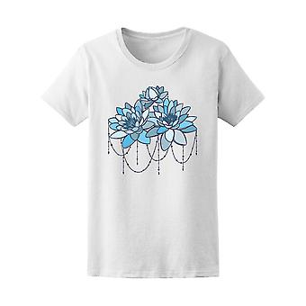 Blue Water Lily Flower Hand Drawn Women Tee - Image by Shutterstock