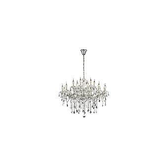 Ideal Lux Florian 18 gran bombilla cromo y araña de cristal claro