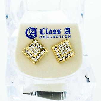 Gold bling iced out earrings - EDGED 10 mm
