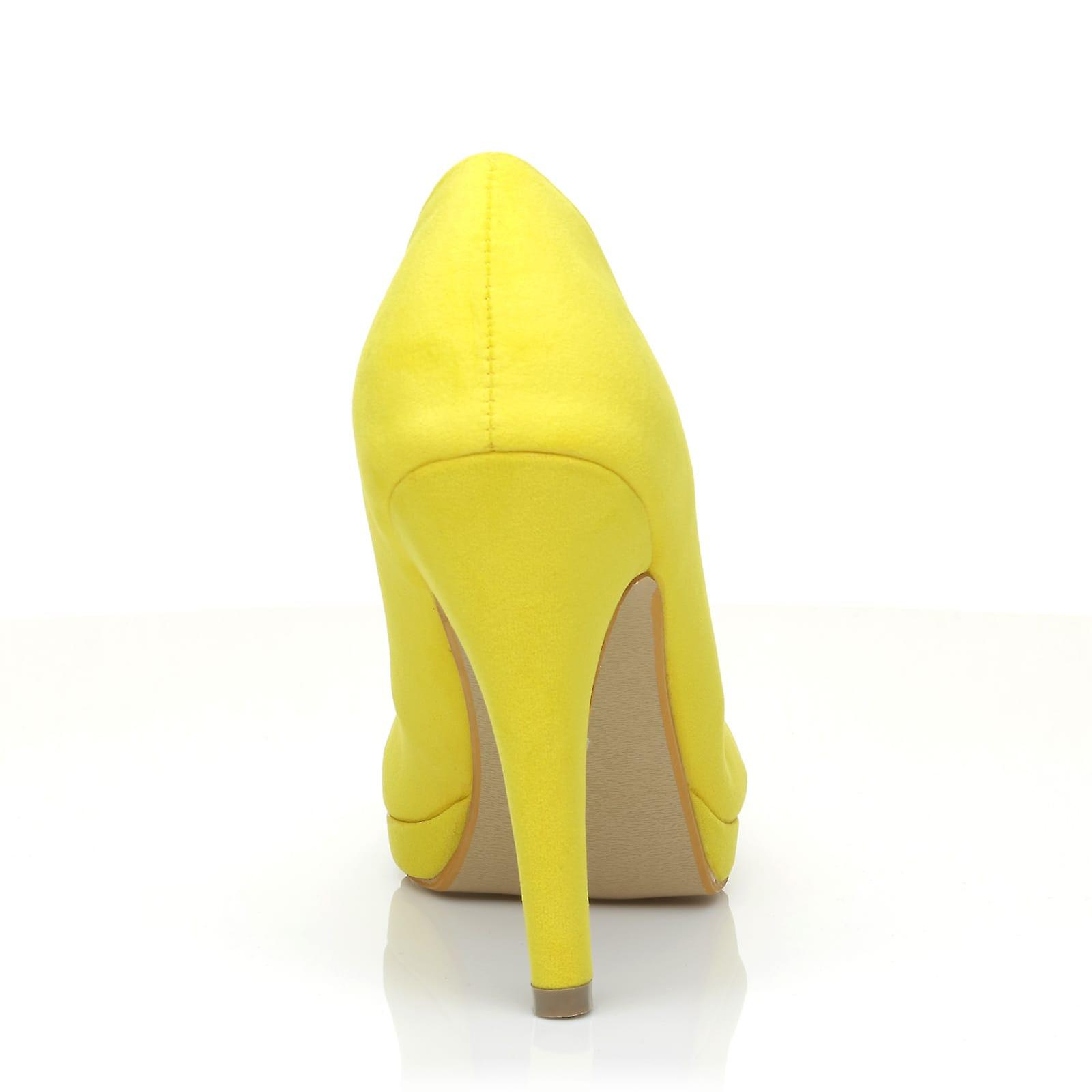 EMMA Yellow Faux Suede Stiletto High Heel Platform Pointed Shoes
