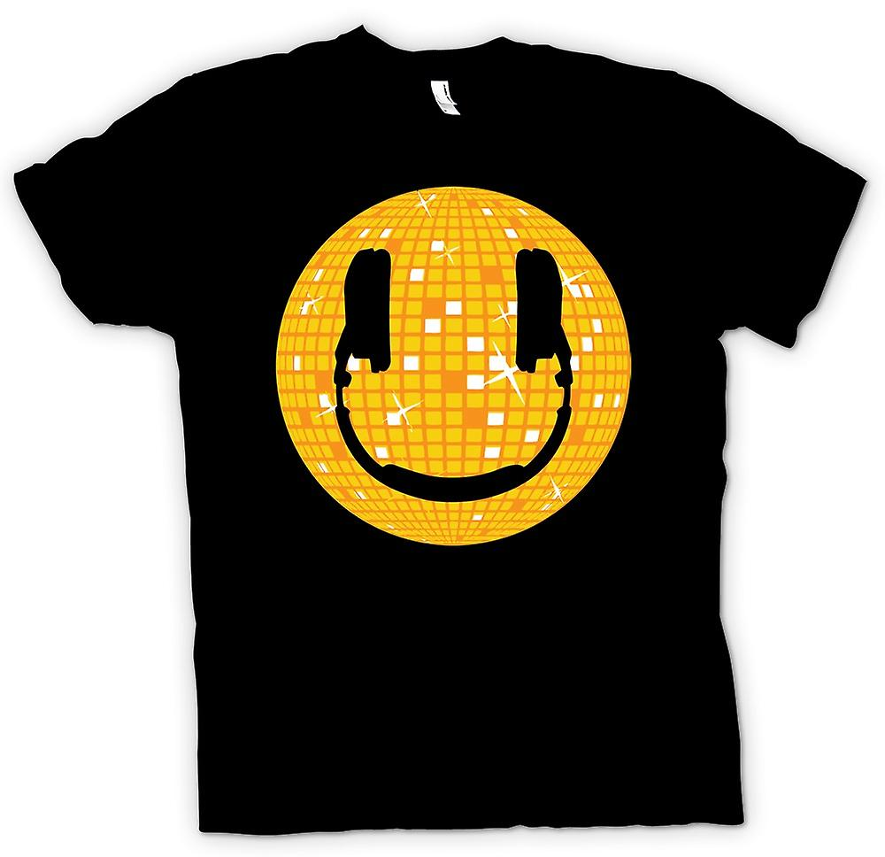 Mens T-shirt - Smiley-Gesicht - Disco-Kugel