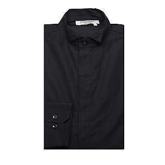 Yves Saint Laurent mäns bomull Wing krage klänning skjorta svart