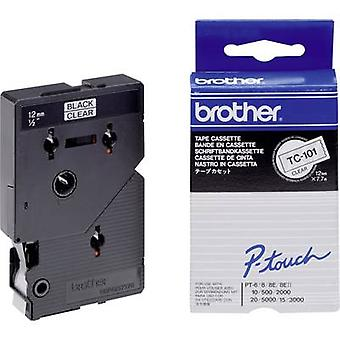 Etiquetado cinta color Brother TC-101 Tape: color transparente fuente: negro 12 mm 7,7 m