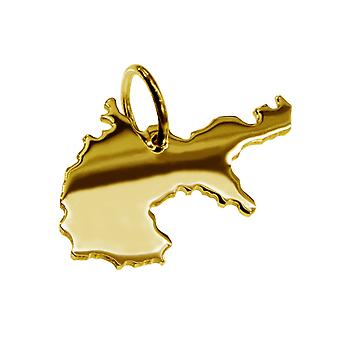 Trailer map Germany 1914 pendant in solid 585 yellow gold