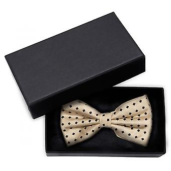 Gold fly black geometric patterned loop Fabio Farini shine bow tie