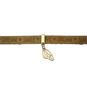 Damen - Armband - Schmetterling - Flügel - 925 Silber Vergoldet - Vergoldet - WISHES - Braun Sand - Magnetverschluss