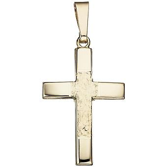 Pendant cross 585 part gold yellow gold hammered cross pendant gold cross
