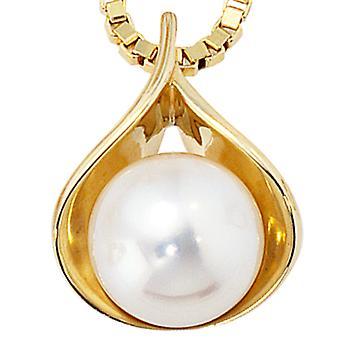 Perła naszyjnik perły zawieszka zawieszki 585 złota żółtego złota 1 słodkowodne Pearl