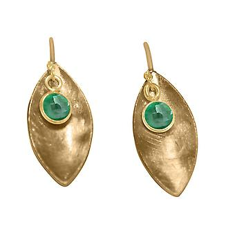 Ladies earrings 925 Silver Gold MARQUISE emerald green 3 cm
