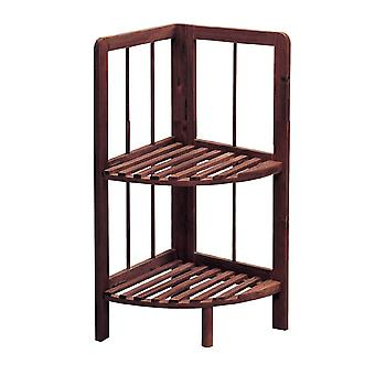 Knight Knox 2 Tier Wooden Corner Shelf Dark Colour Easy to Store, Sturdy and Durable