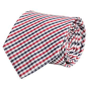 Tie tie 8 cm red, grey ties tie, dark blue checkered Fabio Farini