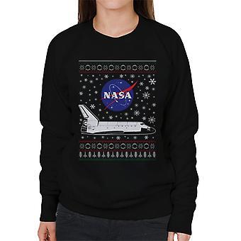 Logo de la NASA y traslado Navidad tejer patrón sudadera mujer