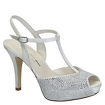 Wedding white satin with cristals open toe platform sandals