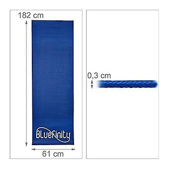 Tapis de yoga antidérapant avec sangle élastique bleu pilates 0 3 x 61 x 182 cm bleu foncé 0713014