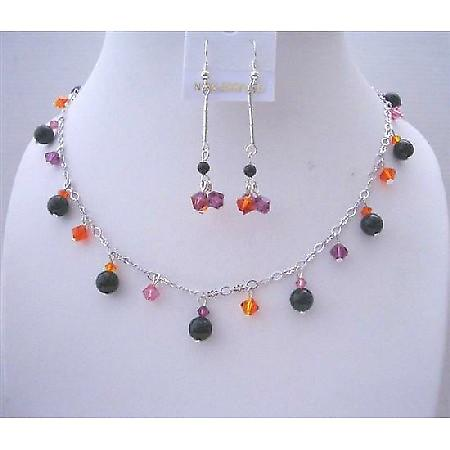 Black Pearls Swarovski MultiColor Crystals Wedding Party Jewelry Gift