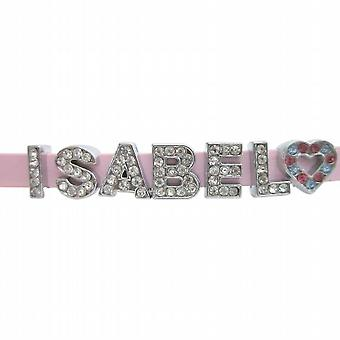 Isabel Name In Pink watch strap Bracelet w/ Charm Heart