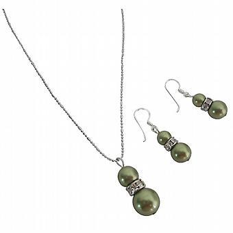 Splendide perle Swarovski verde personalizzare gioielli di nozze